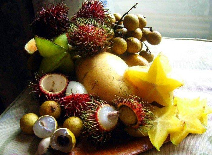 экзотические фрукты на столе, как кушать правильно экзотику