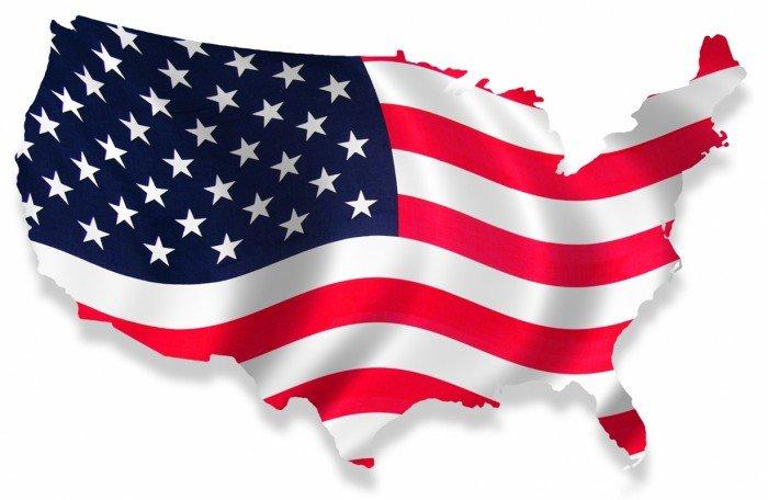 Карта США в виде флага