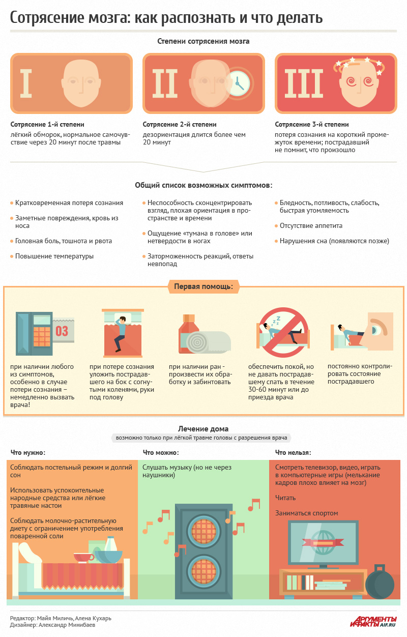 инфографика сотрясение мозга