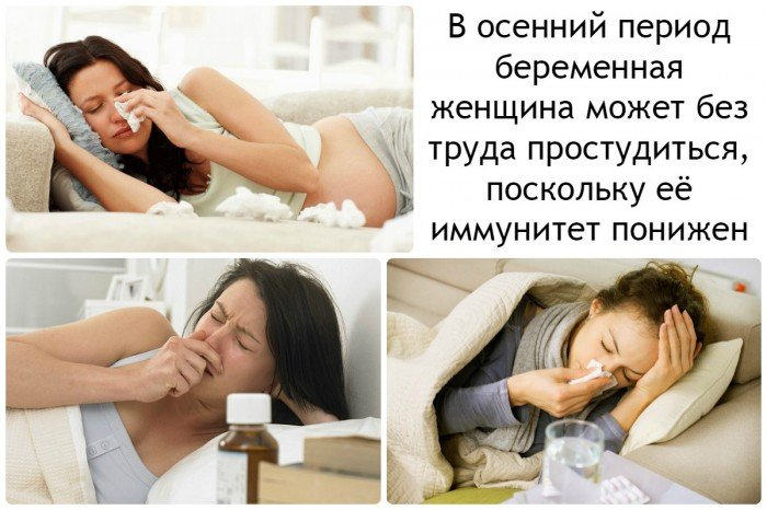 в осенний период беременная женщина может без труда простудиться, поскольку её иммунитет понижен