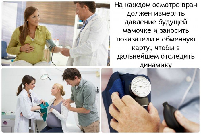 на каждом осмотре врач должен измерять давление будущей мамочке и заносить показатели в обменную карту, чтобы в дальнейшем отследить динамику