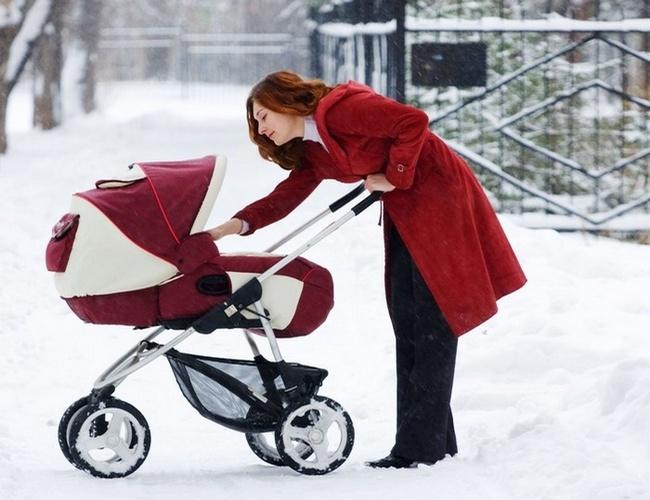 Мама с коляской на зимней прогулке