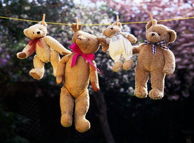 Плюшевые медведи сушатся после стирки