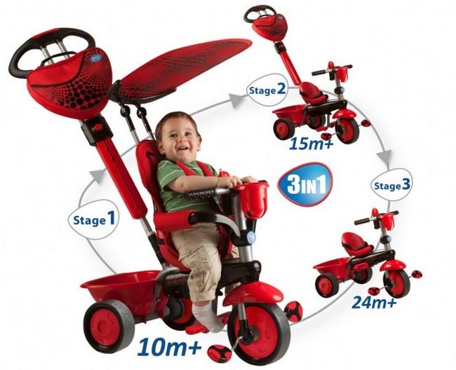 Детский трёхколёсный велосипед: совмещённый вариант