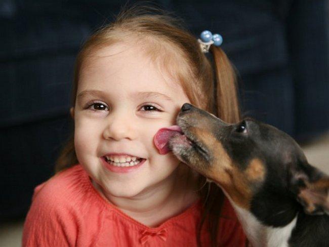 щенок лижет щёку девочке