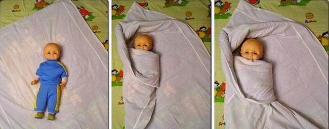 Пеленание в одеяло 'с головой'