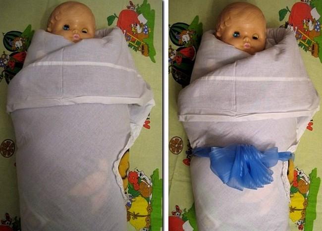 Пеленание в одеяло с открытой головой