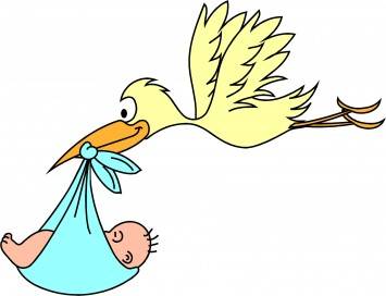 Аист несёт ребёнка