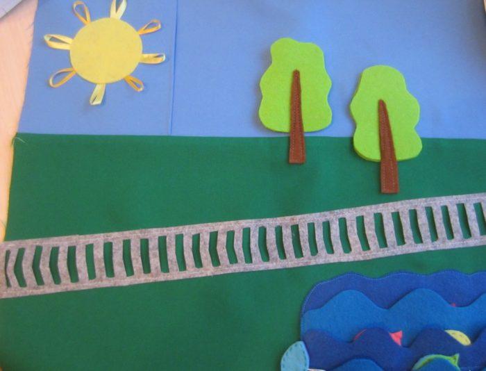 Промежуточный этап: полянка с деревьями, рекой и солнцем