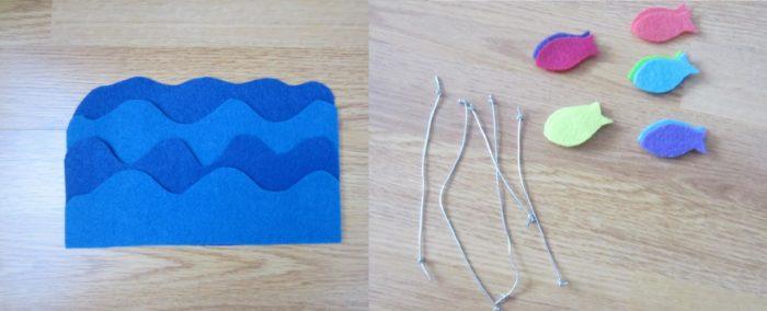 Волны из голубого и синего фетра и заготовки для рыбок