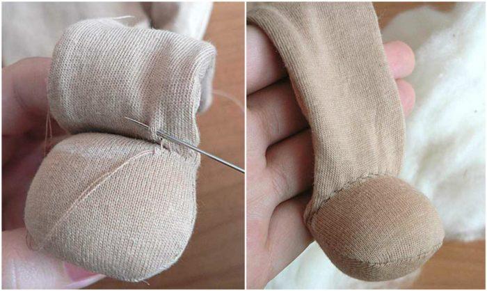 Набивание ступней шерстью