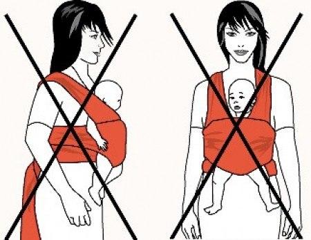 Как нельзя носить ребёнка в май-слинге
