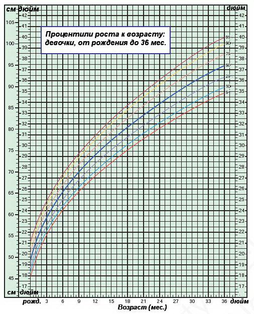 Процентили роста к возрасту — девочки от 0 до 36 месяцев