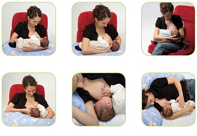 Разные положения для кормления ребёнка