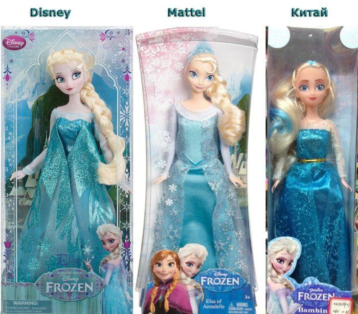 Куклы Эльза разного производства