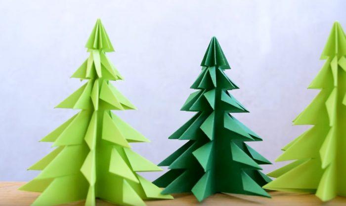 Зеленые елки из бумаги