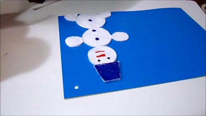 Готовая аппликация снеговика