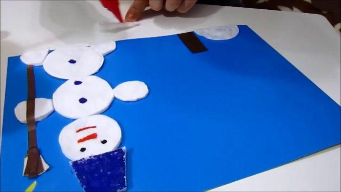 Аппликация со снеговиком