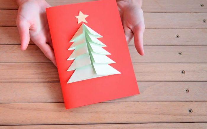 Объемная открытка с елкой