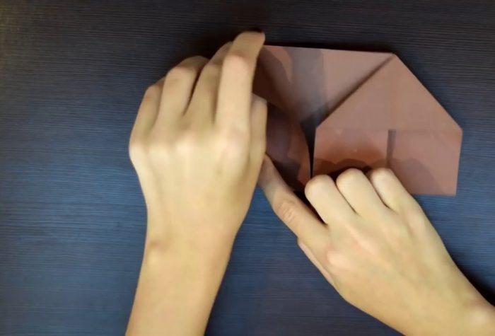 Заготовка из бумаги для собаки оригами