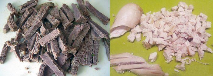 Отварная говядина, нарезанная соломкой, и кусочки отварной куриной грудки