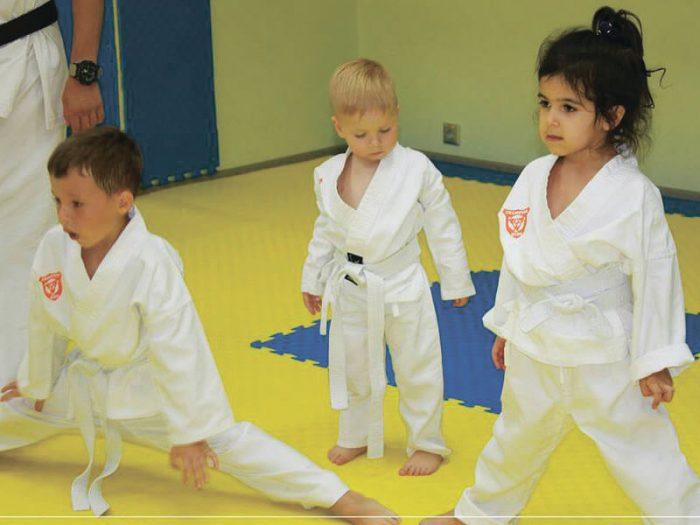 Малыши дошкольного возраста на тренировке по карате
