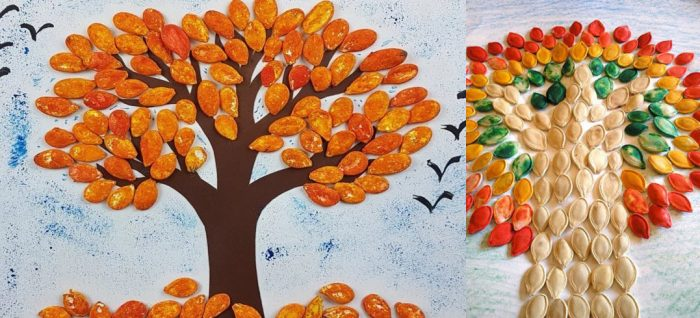 Дерево из семечек на голубом фоне и чудо-дерево со стволом из белых семечек
