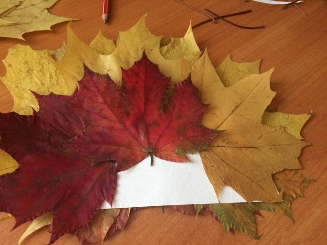 Кленовые листья приклеены к картонному полукругу