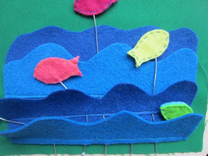 Фиксирование рыбок и волн на основе