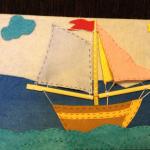 Панно с парусником, выполненное из ткани