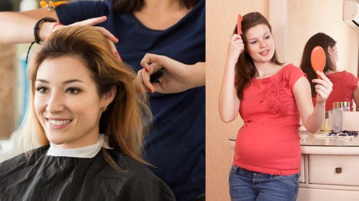 Женщина стрижётся у парикмахера и улыбается; беременная расчёсывается, смотрит в зеркало и улыбается