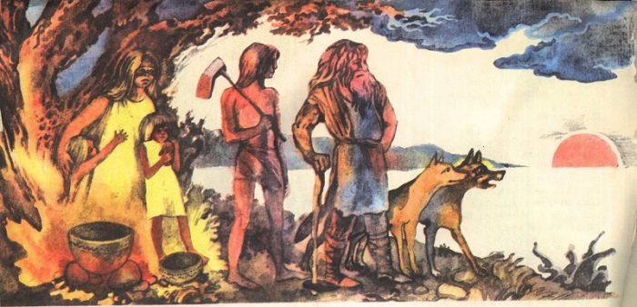 Древние люди стоят с собаками на берегу реки и чего-то боятся