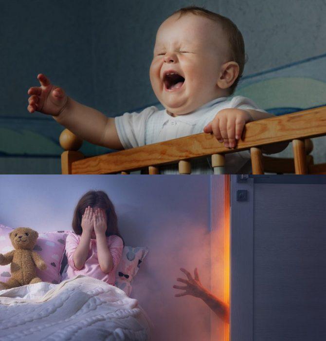 Грудной ребёнок ночью стоит в кровати и плачет; девочка лет пяти сидит в кровати, закрыв лицо руками, из-за двери к ней тянется рука