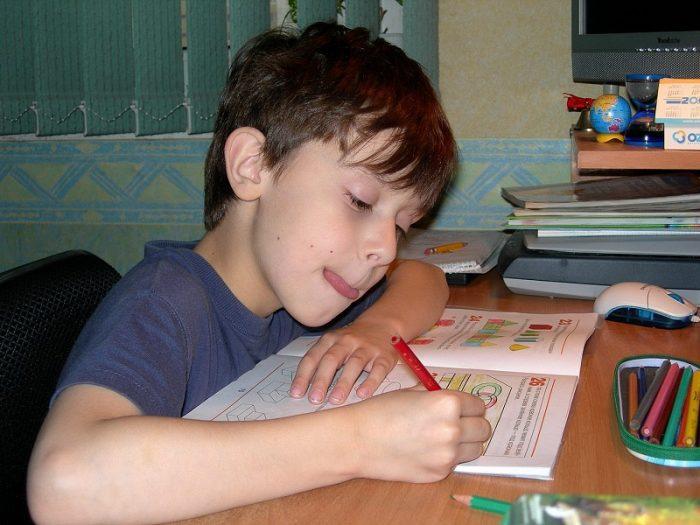 Школьник делает уроки