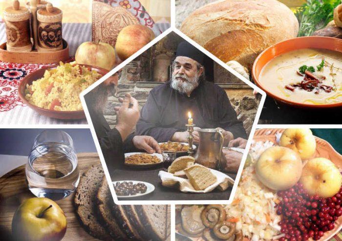продукты, священники за столом едят