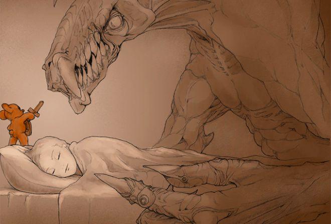 На спящего ребёнка нападает монстр, с ним сражается плюшевая мышка