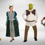 Двое взрослых и два ребёнка одеты в костюмы из мультфильма «Шрек»
