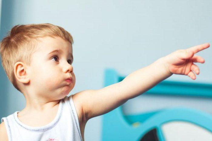 Мальчик молча показывает пальцем на что-то