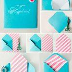 Схема изготовления конверта из бумаги разных цветов