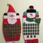 Адвент-календари из фетра в виде Деда Мороза и снеговика