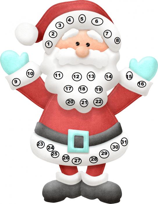 Изображение Деда Мороза с цифрами от 1 до 31