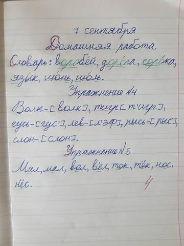 Оценка «4» за домашнюю работу по русскому языку при отсутствии ошибок