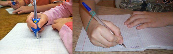Ребёнок рисует ручкой, на которую надета специальная насадка; ручка соединяется с рукой резинкой