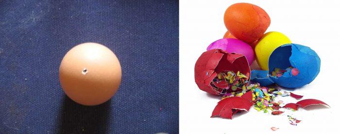 В яйце проколота дырочка; внутри треснутых разноцветных яиц находится конфетти