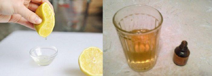 В пиалку выжимается сок из лимона; йодовый раствор в стакане