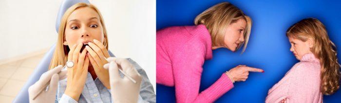 Женщина пугается стоматологических инструментов и закрывает рот; мать отчитывает дочку