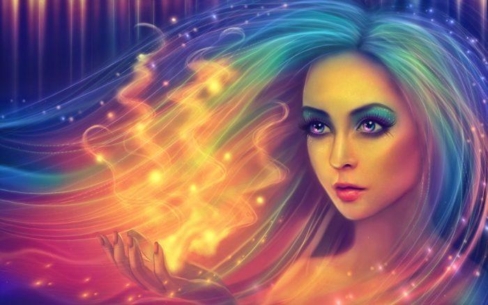 Девушка с распущенными искрящимися волосами, из её ладони идёт магический свет