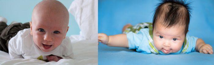 Лысый младенец и другой того же возраста с довольно длинными волосами