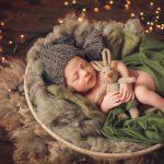 Новорождённый в новогодней корзинке