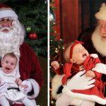 Малышка на руках у Деда Мороза